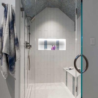 Contemporary bathroom in log home renovation